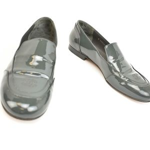 CHANEL: Dark Gray Patent Leather & CC Logo Loafers